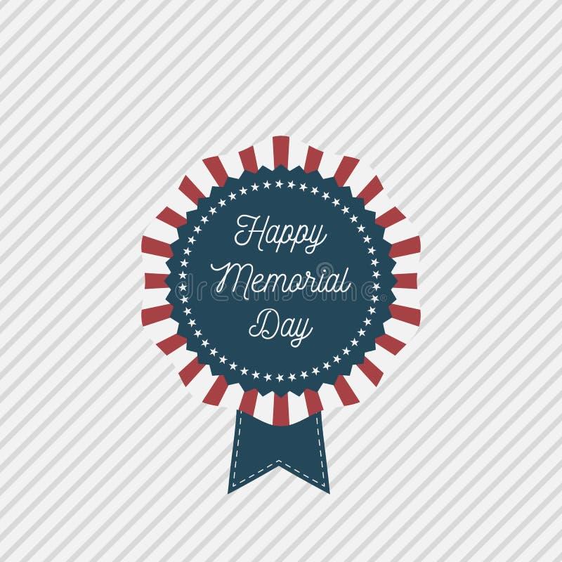 Memorial Day -Vektor patriotisches Emblem mit Text stock abbildung