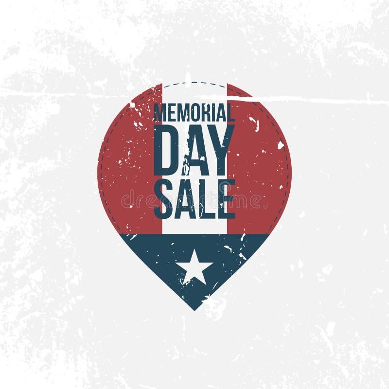 Memorial Day -Verkoop grafisch Etiket met Tekst stock illustratie