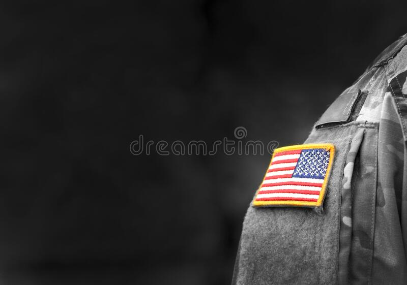 Memorial day. Veterans Day.  American Soldiers Saluting. US Army. Military of USA . empty space for text stock image