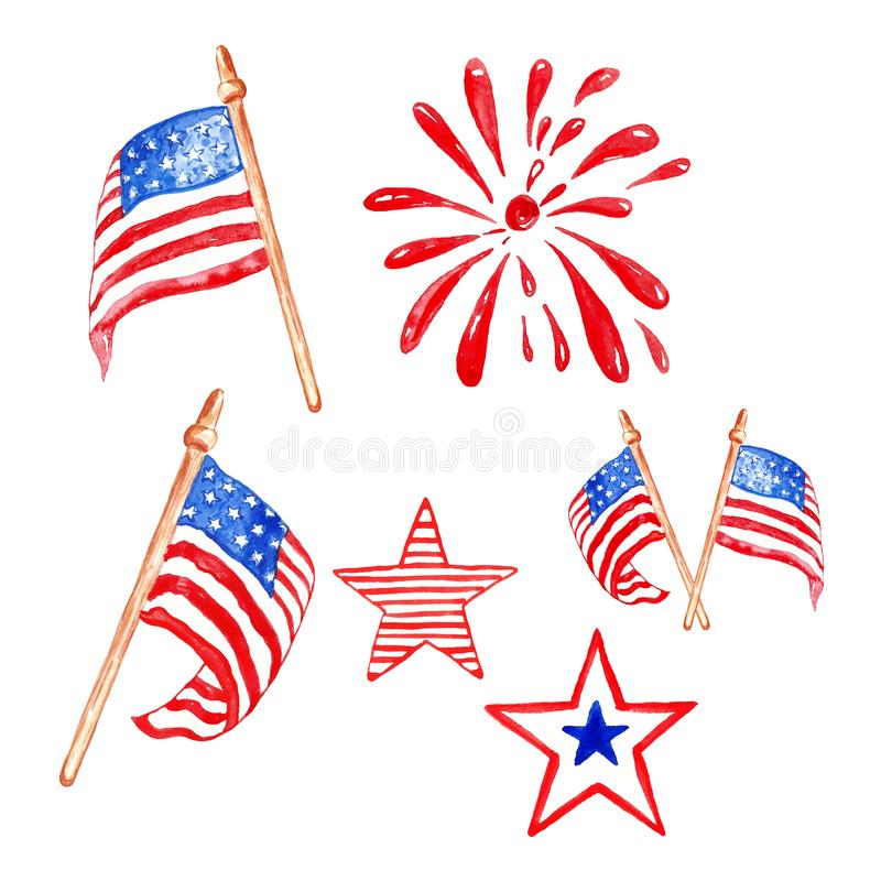 Memorial day watercolor set with US flags, stars and saluting firework, isolated on white background. Memorial day and fourth of july watercolor set. Hand royalty free illustration