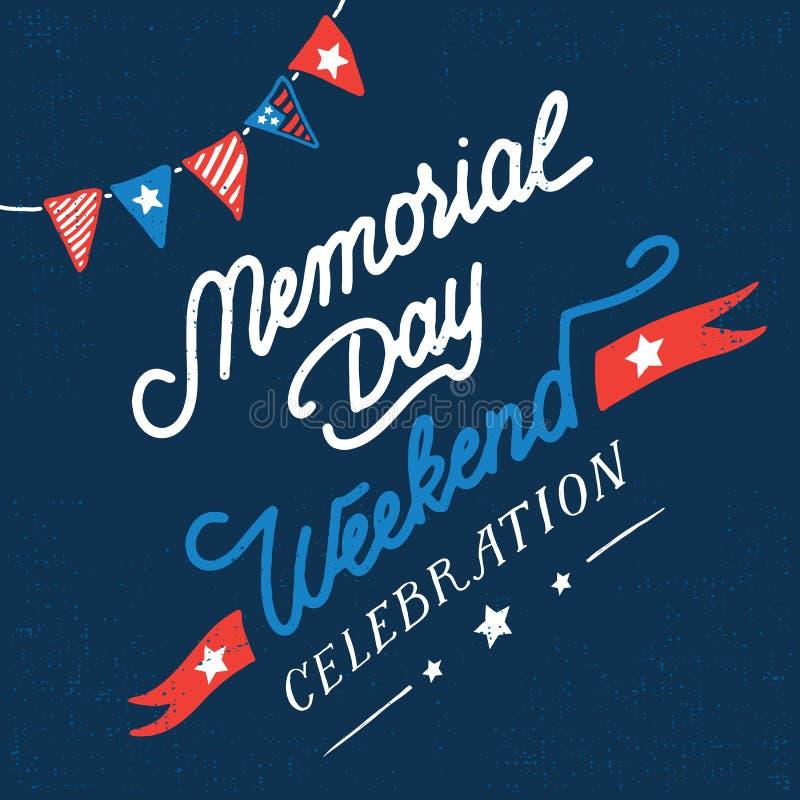 Memorial day weekend celebration vintage card stock photos