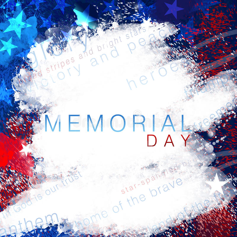 Memorial Day. A white abstract United States patriotic background with stars and stripes in red and blue for Memorial Day royalty free stock image