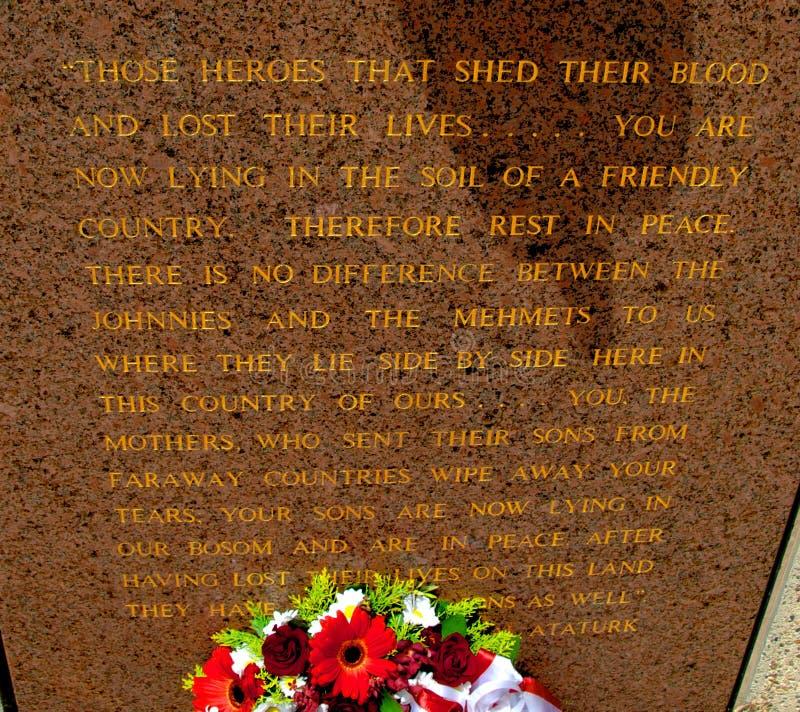 Memorial de Ataturk em Canberra Austrália imagem de stock royalty free