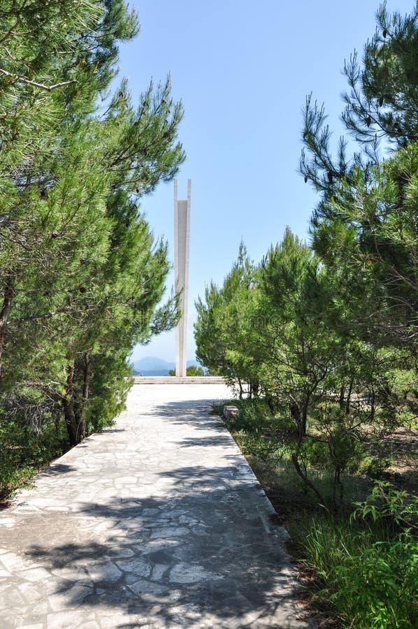 Memorial de guerra dedicado a 395 partidários e civis jugoslavos caídos matados em campos de concentração do italiano e do ustash fotos de stock royalty free