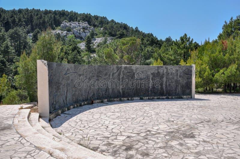 Memorial de guerra dedicado a 395 partidários e civis jugoslavos caídos matados em campos de concentração do italiano e do ustash fotografia de stock royalty free