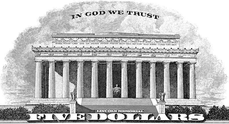 Memorial de Lincoln no deus que nós confiamos fotografia de stock royalty free