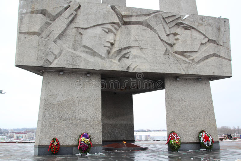 Memorial dedicated to the Second World War, Belarus. Memorial of the Second World War in Vitebsk, Belarus. Co-called three bayonets stock photography