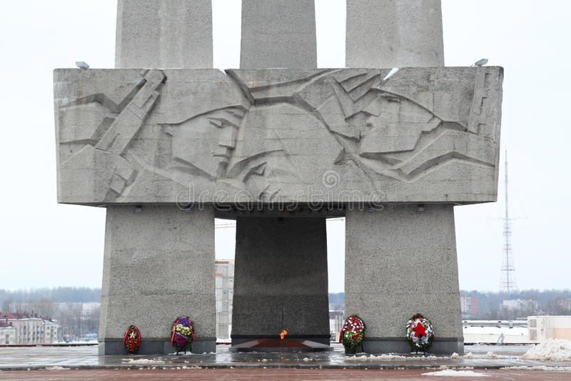 Memorial dedicated to the Second World War, Belarus. Memorial of the Second World War in Vitebsk, Belarus. Co-called three bayonets stock photos