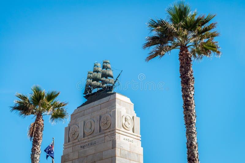 Memorial do pioneiro da praia de Glenelg imagens de stock royalty free