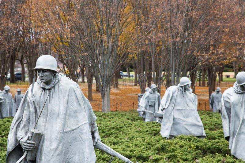 Memorial för koreanska krigsveteraner, Washington DC arkivbild