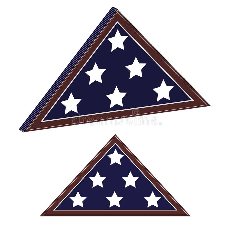 Memorial flag in flat and 3D views. Military ammo uniform element. To design banners for national USA holidays such as stock photography