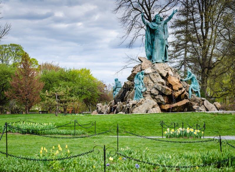 Memorial Fountain国王-华盛顿公园-阿尔巴尼,纽约 库存照片