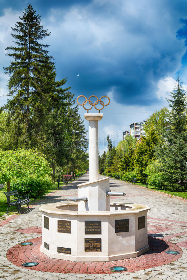 Memorial fountains for the Olympians. It is dedicated to athletes from Subotica who have won Olympic medals. Subotica, Serbia - April 23, 2017: Memorial stock photos