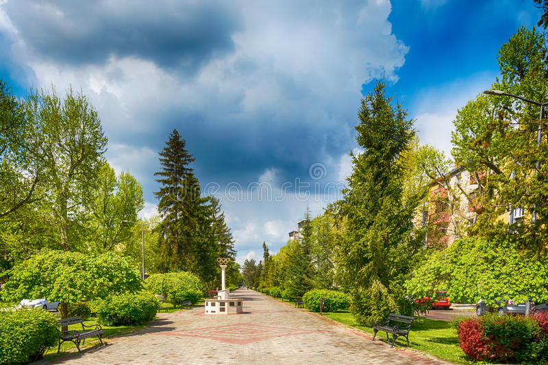 Memorial fountains for the Olympians. It is dedicated to athletes from Subotica who have won Olympic medals. Subotica, Serbia - April 23, 2017: Memorial royalty free stock photography
