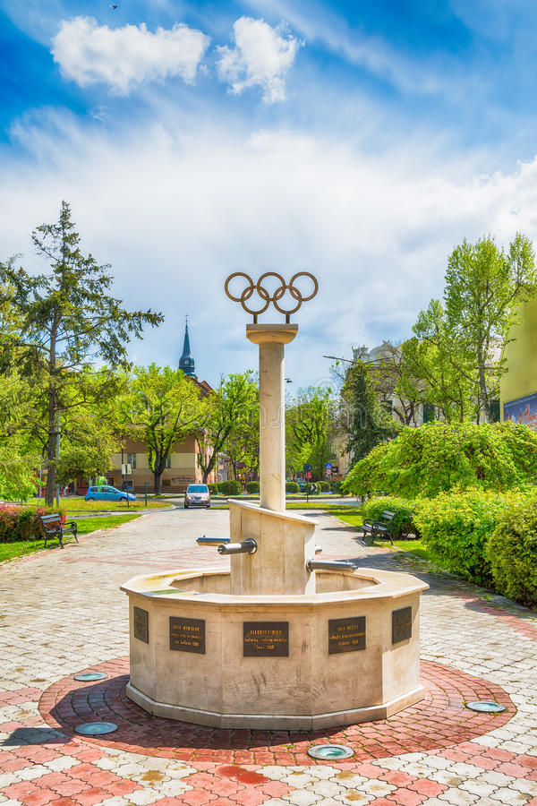 Memorial fountains for the Olympians. It is dedicated to athletes from Subotica who have won Olympic medals. Subotica, Serbia - April 23, 2017: Memorial royalty free stock photos