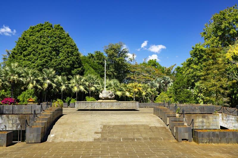 Memorial fundado na memória amado da posição da nação do pai em Sir Seewoosagur Ramgoolam Botanical Garden fotos de stock royalty free