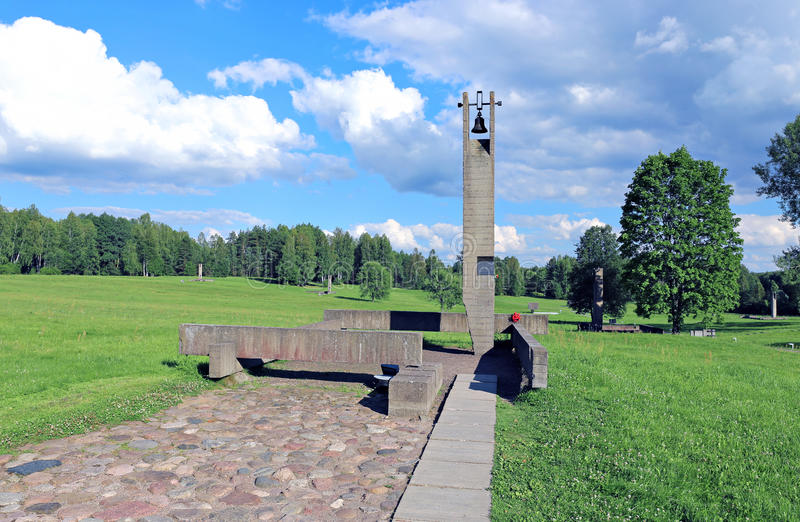 Memorial funeral bells in Khatyn. Against the blue sky stock images