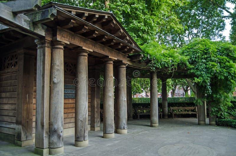 911 Memorial Garden, Grosvenor Square, London. LONDON, UK - JULY 25, 2017: Memorial garden in Grosvenor Square, London commemorating those killed in the terror stock photo