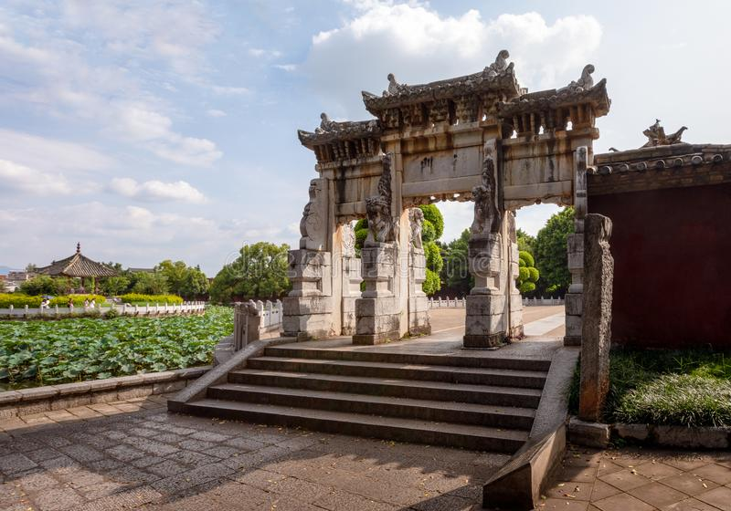 Memorial gateway in the Confucian Temple or Wenmiao, Jianshui, Yunnan, China. Memorial gate in the Confucian Temple or Wenmiao, Jianshui, Yunnan, China. One of stock photography