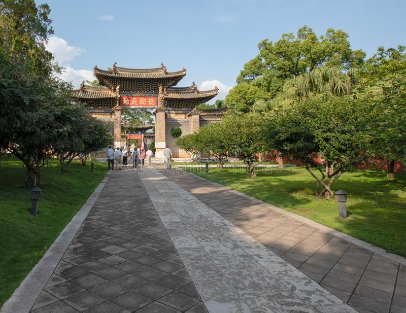 Memorial gateway in the Confucian Temple (Wenmiao), Jianshui, Yunnan, China. One of the biggest and oldest Confucian temples. National heritage stock photography