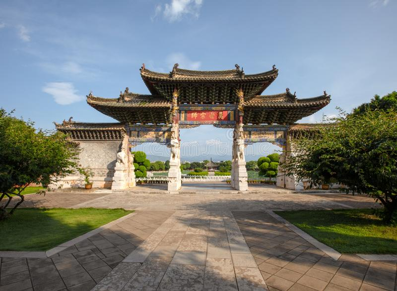 Memorial gateway in the Confucian Temple (Wenmiao), Jianshui, Yunnan, China. One of the biggest and oldest Confucian temples. National heritage royalty free stock photography