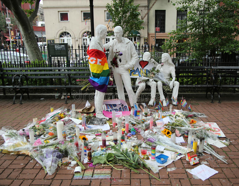 Memorial at Gay Liberation sculptures in Christopher Park for the victims of the mass shooting in Pulse Club, Orlando royalty free stock photos
