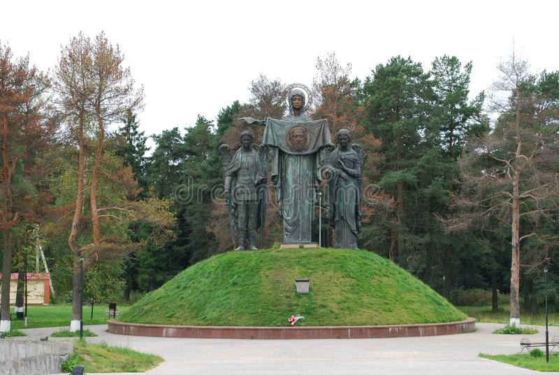 Memorial `Glory boundary. Blessed Mother of God Patroness of Sacred Russia`. Russia. Settlement of Lenino. August 27, 2009. Memorial `Glory boundary. Blessed stock photo