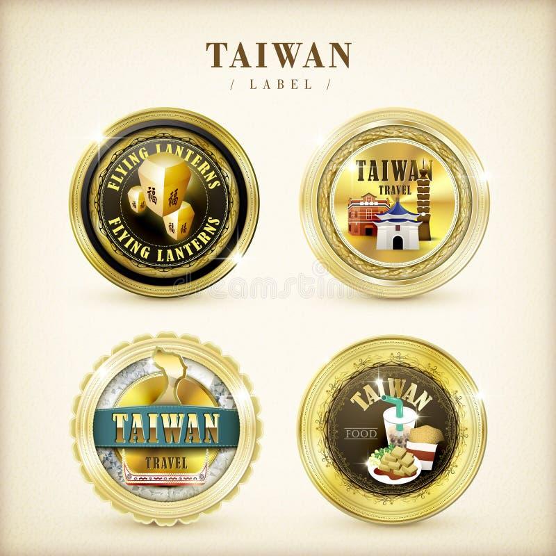 Memorial golden labels. Taiwan memorial golden labels set on beige background vector illustration