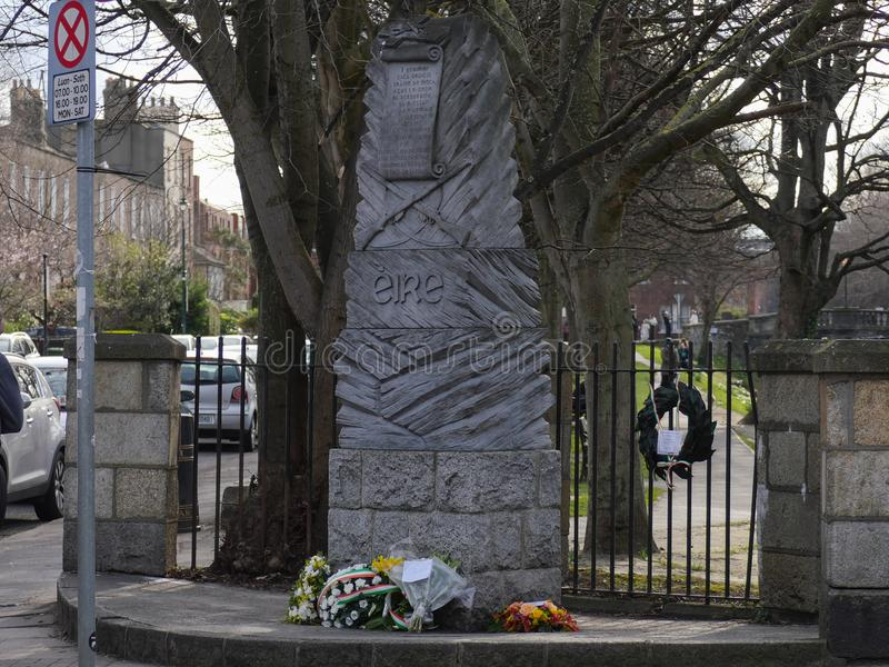 Memorial by Grand Canal in Dublin for 1916 Easter Rising. Memorial by the Grand Canal in Dublin to remember those who died in the 1916 Easter Rising stock images
