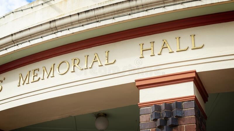 Memorial Hall sign above entrance stock images