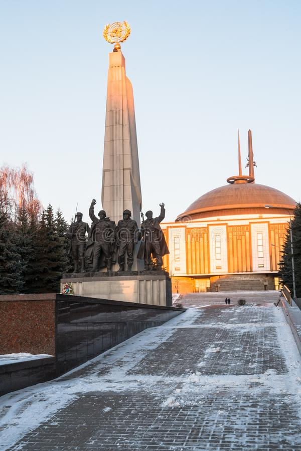 Memorial in honor of countries participants of anti-Hitler coalition in World War II in the Victory Park, Moscow, Russia. stock photo