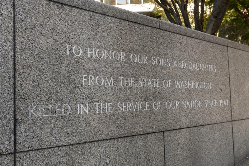 Memorial at the Garden of Remembrance in Seattle, Washington, USA. stock image