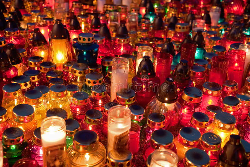Memorial Lampions Lit On The All Saints Day Stock Photography