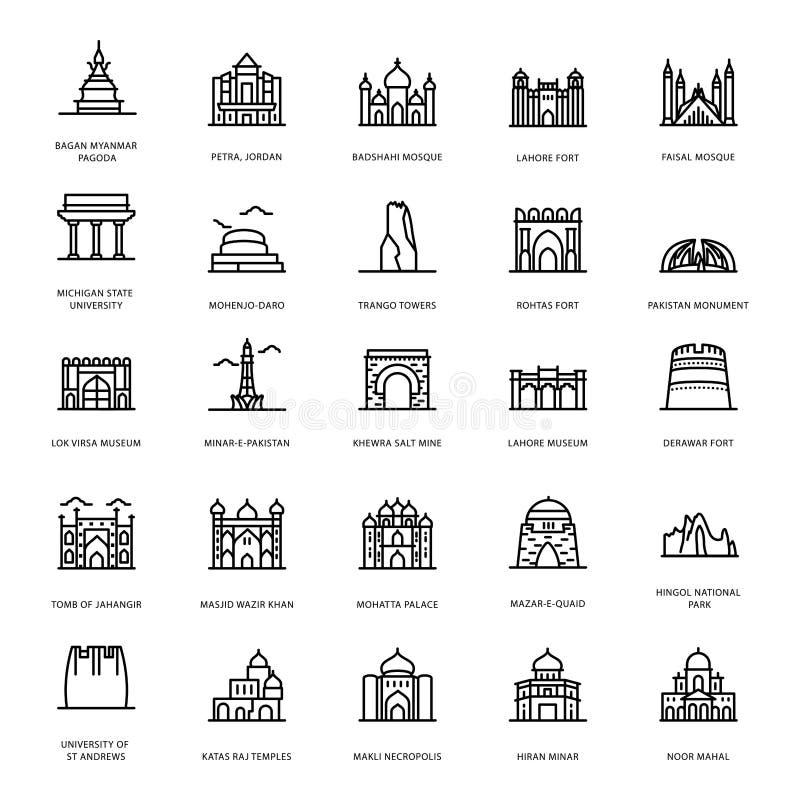 Memorial Landmarks Line Vectors vector illustration