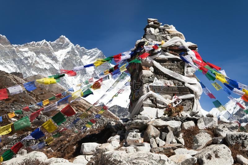 Memorial of Lhotse south face heroes under Mount Lhotse stock photo