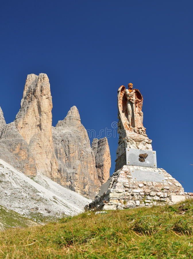Memorial monument in Dolomites mountains stock photo
