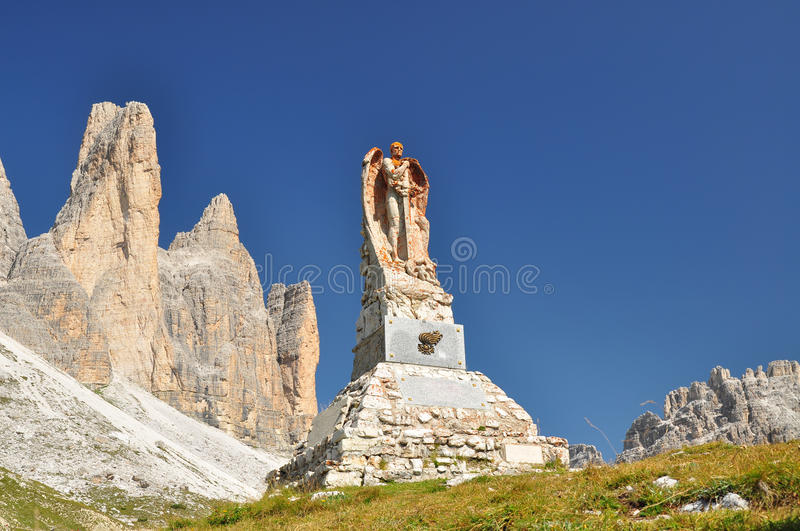 Memorial monument in Dolomites mountains stock image
