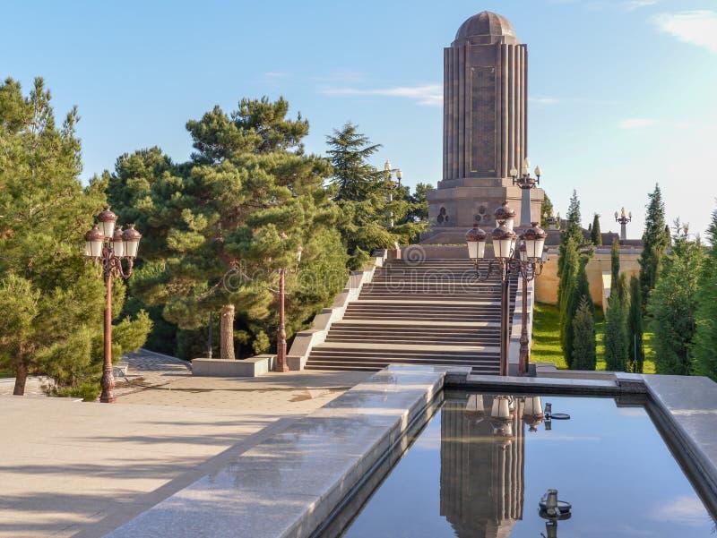 Memorial. Monuments of Nizami Genjevi at the Park stock photos