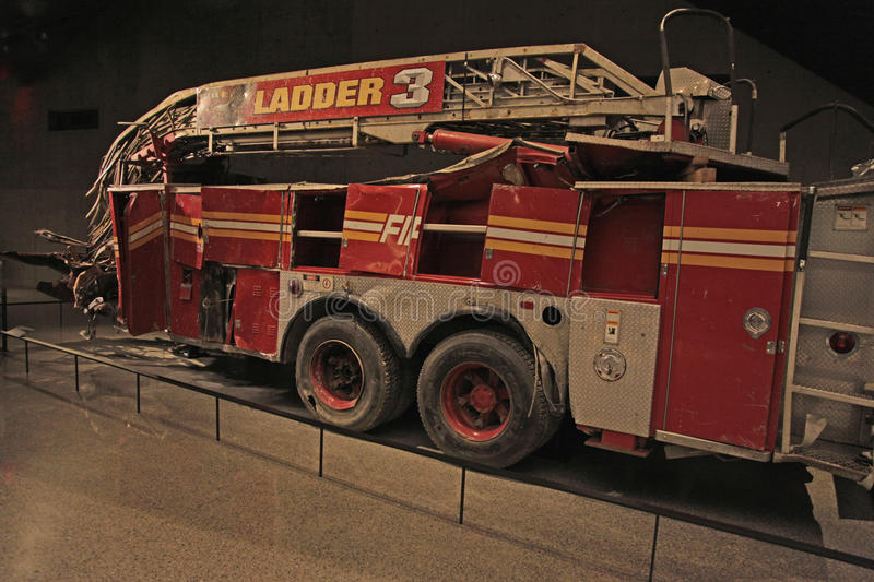 9/11 Memorial Museum, Fire Truck, NYCFD at Ground Zero,WTC. The 9/11 Memorial Museum at Ground Zero in lower Manhattan. Here, in Center Passage shows remains of stock photography