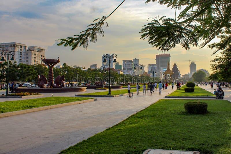 Memorial Park i Phnom Penh royaltyfri fotografi