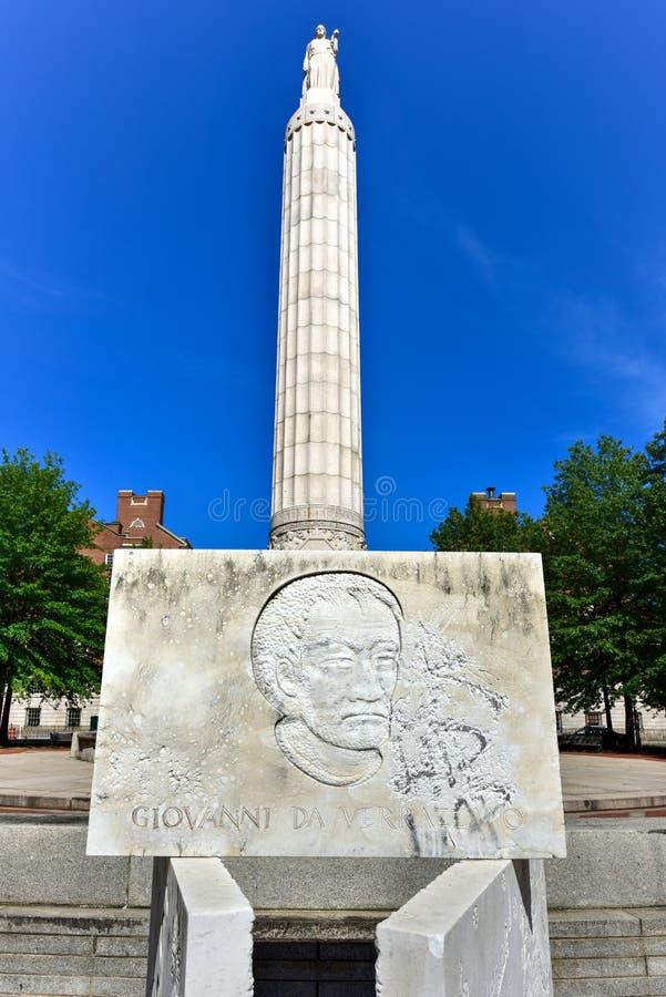 Memorial Park - Providence, Rhode Island. Verrazzano Monument and World War I monument in Memorial Park in Providence, Rhode Island stock images