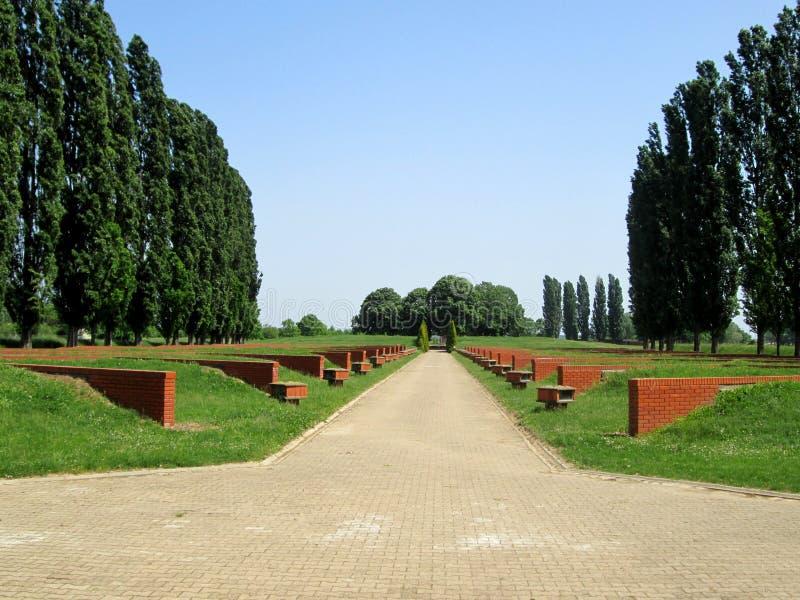 Memorial Park Sremski framdel, Vojvodina, Serbien royaltyfria bilder