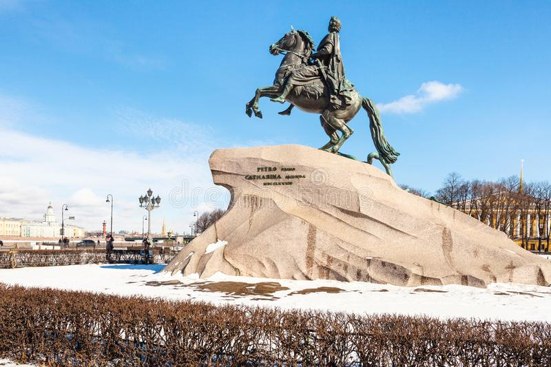 Memorial of Peter the Great in the Senate Square. Bronze Horseman memorial of Peter the Great in the Senate Square in Saint Petersburg. The monument was built in stock photos