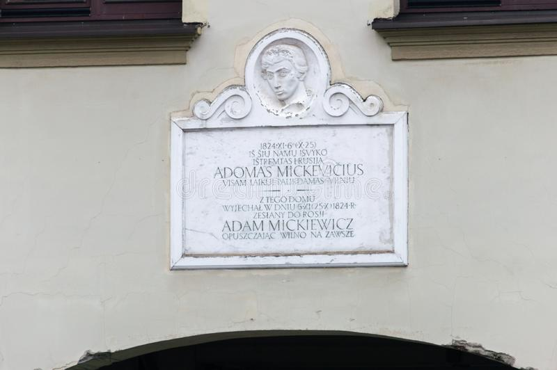 Memorial plaque on Mickiewicz house. Mickiewicz left house in Vilnius in 1824. Adam Bernard Mickiewicz was a Polish poet. royalty free stock photography