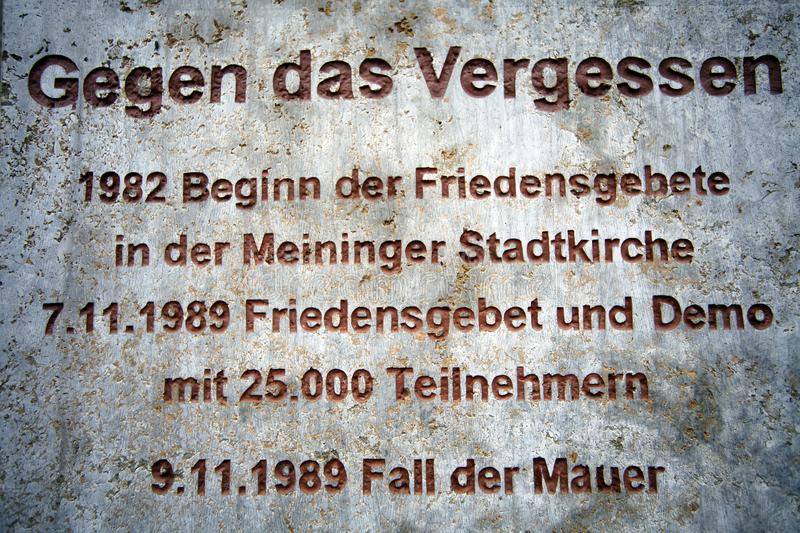 Memorial plaque to the peace prayers for the reunification in Meiningen Germany. 27.October 2018 royalty free stock images