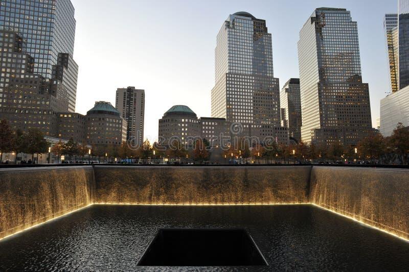 Memorial Pools at National September 11 Memorial. A view of the memorial pools at dusk at the National September 11 Memorial at the World Trade Center site in