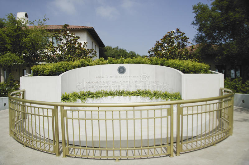 Memorial with Reagan quotation at the Ronald W. Reagan Presidential Library royalty free stock images