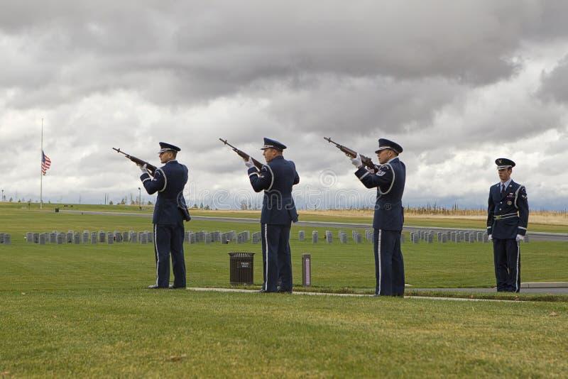 Memorial rifle squad. stock photos