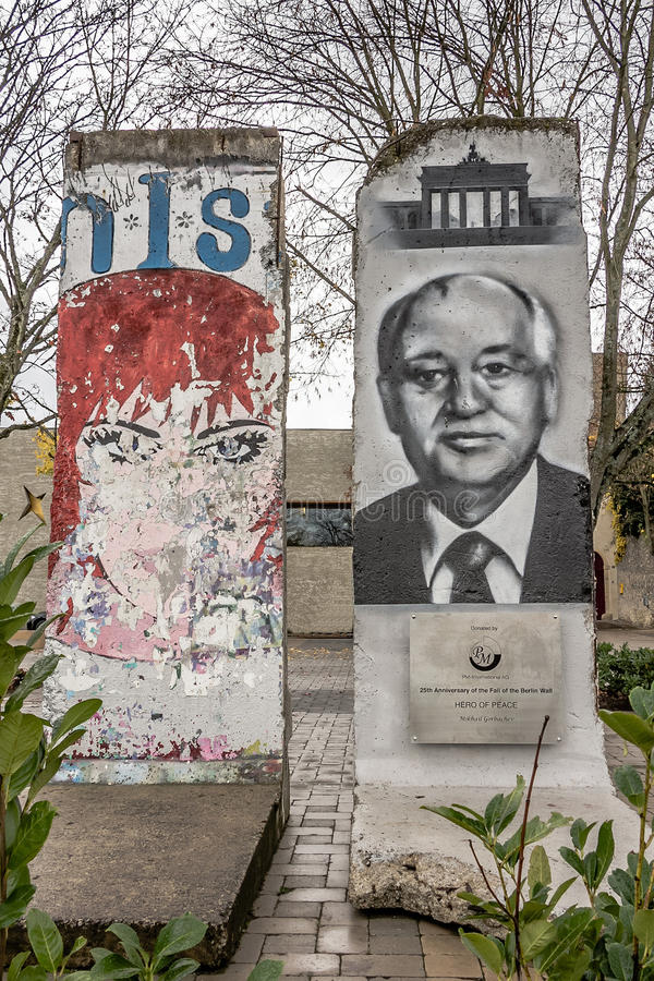 Memorial in Schengen of 25th Anniversary of the Fall of the Berlin wall, royalty free stock photo