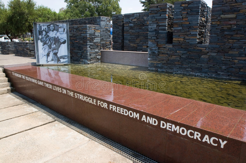 Memorial in Soweto. Memorial near the site where a young student was killed by police during manifestations agaisnt apartheid in Soweto, Johannesburg,South stock photo